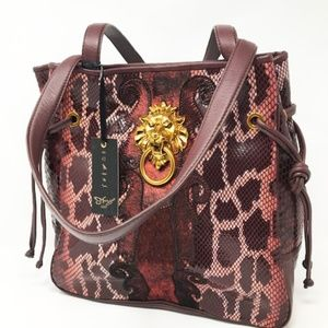 Sharif Lion's Gate Knocker Tote Bag--Ruby Snake
